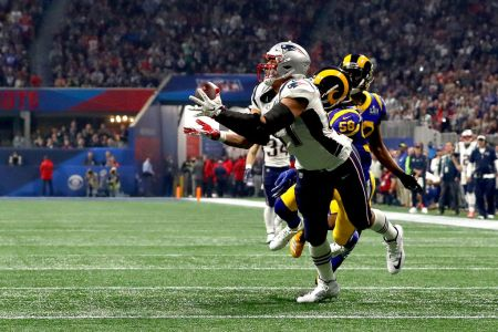 Rob Gronkowski #87 of the New England Patriots catches a 29-yard reception in the fourth quarter against the Los Angeles Rams during Super Bowl LIII at Mercedes-Benz Stadium on February 03, 2019 in Atlanta, Georgia. (Photo by Maddie Meyer/Getty Images)