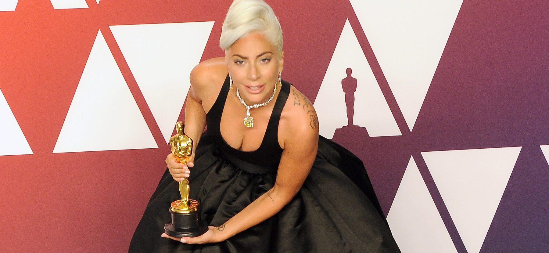 Lady Gaga winner Best Music (Original Song) award for 'Shallow' from 'A Star Is Born' poses in the press room during at Hollywood and Highland on February 24, 2019 in Hollywood, California. (Photo by Albert L. Ortega/Getty Images)