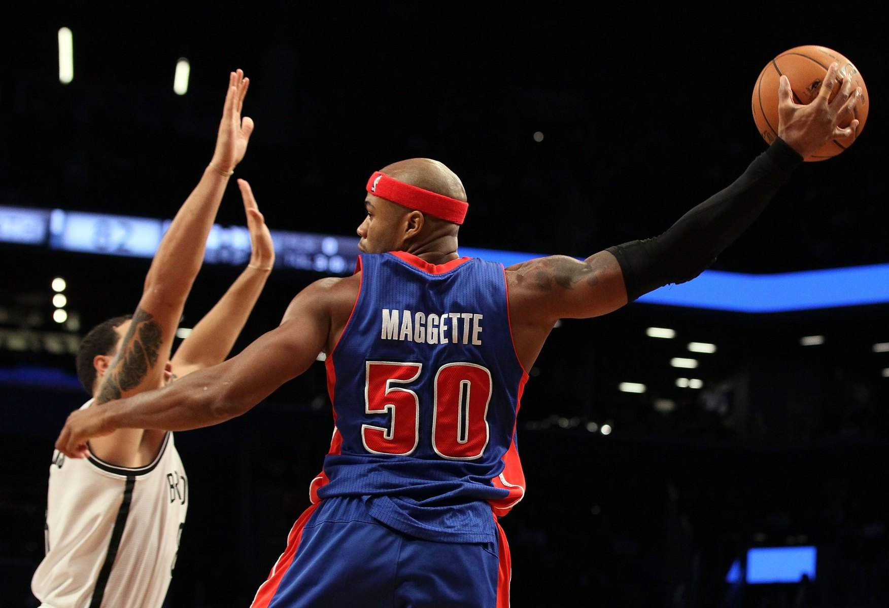 NEW YORK, NY - DECEMBER 14:  (NEW YORK DAILIES OUT)   Corey Maggette #50 of the Detroit Pistons in action against the Brooklyn Nets at Barclays Center on December 14, 2012 in the Brooklyn borough of New York City.The Nets defeated the Pistons 107-105 in double overtime. (Photo by Jim McIsaac/Getty Images)