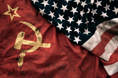 Soviet Union and United States of America flags. (Getty)