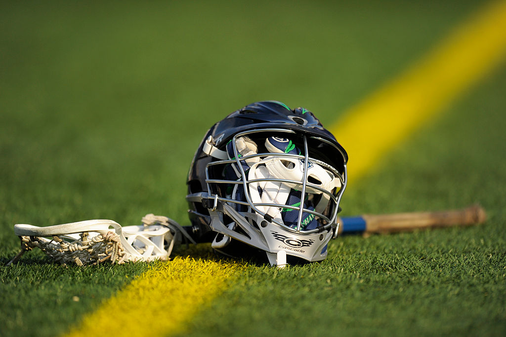 ANNAPOLIS, MD - JUNE 06:  Chesapeake Bayhawks player's stick, gloves and helmet on the field before a MLL lacrosse game against the Denver Outlaws at Navy-Marine Corps Memorial Stadium on June 6, 2015 in Annapolis, Maryland.  (Photo by Mitchell Layton/Getty Images)