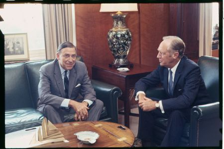 Charles Burke Elbrick (left), U.S. Ambassador to Brazil, confers with Secretary of State William P. Rogers at the State Department. Afterwards, the 61-year-old diplomat told a press conference he expects to return to Rio de Janeiro despite his recent kidnapping by opponents of the Rio Government. (Getty)