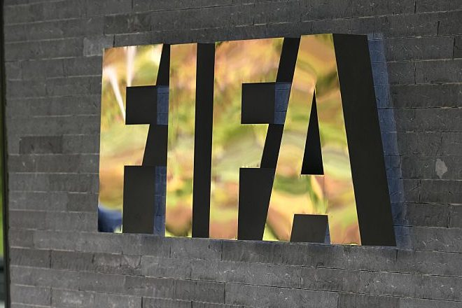 FIFA's logo at the world football's governing body headquarters. (FABRICE COFFRINI/AFP/Getty)