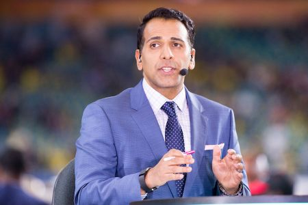 ESPN Studio Anchor Adnan Virk during the ESPN College Football Pregame Show on December 30, 2016, at the Hard Rock Stadium in Miami Gardens, FL (Photo by Doug Murray/Icon Sportswire via Getty Images)