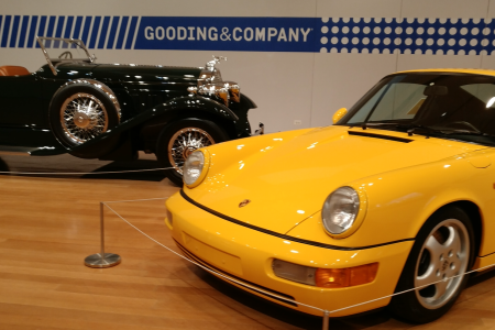 A 1930 Packard 734 Speedster Runabout and 1967 Porsche 911 2.0 S which were on display at Christie's courtesy of Gooding & Company. (RCL)