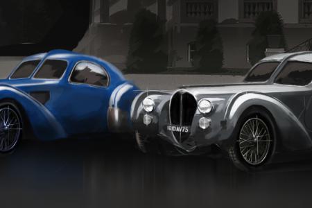 Renderings of the four Bugatti Type 57SC Atlantics that were produced. (Bugatti)