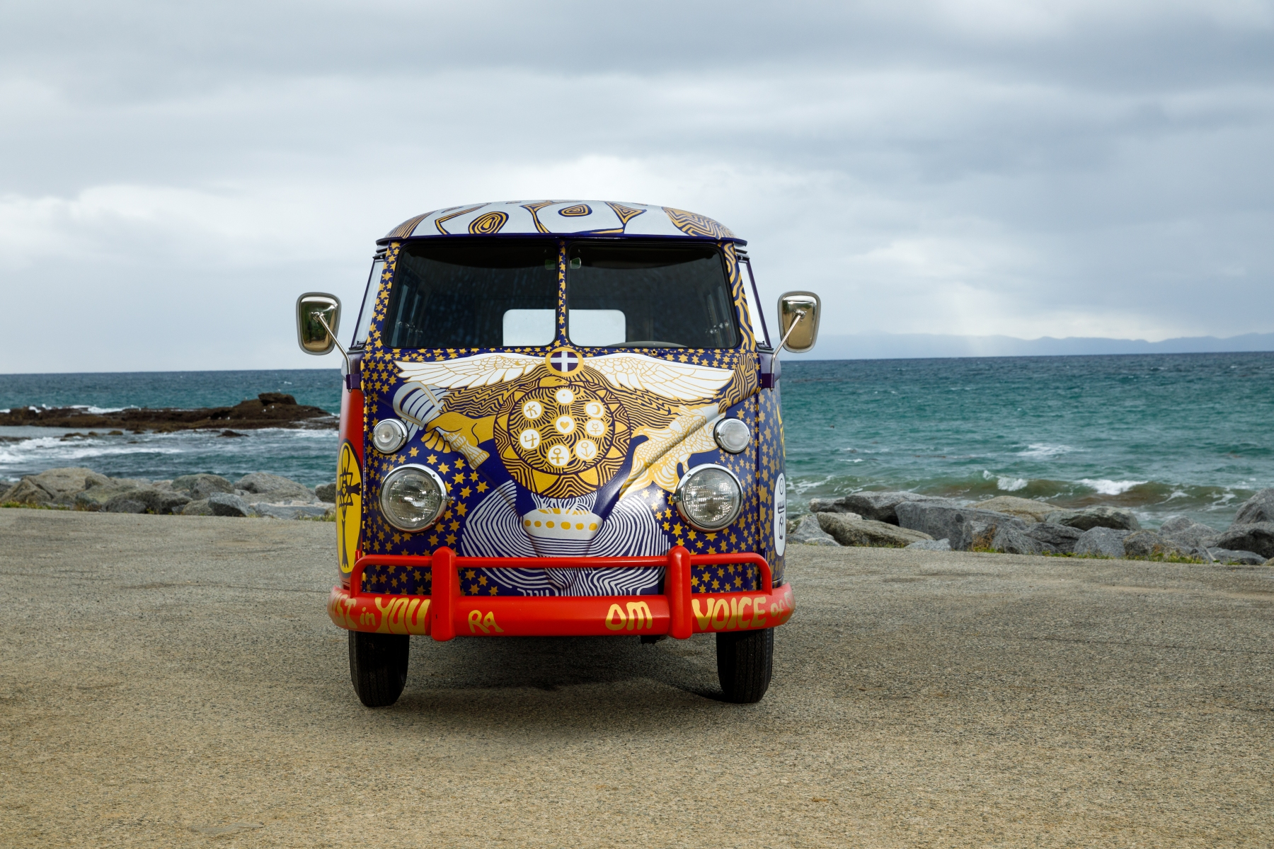 "A recreation of the legendary ""Light"" bus that gained recognition after its appearance at the 1969 Woodstock Art and Music Fair. (Volkswagen)"