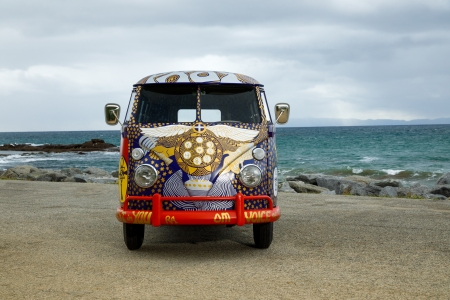 """A recreation of the legendary """"Light"""" bus that gained recognition after its appearance at the 1969 Woodstock Art and Music Fair. (Volkswagen)"""