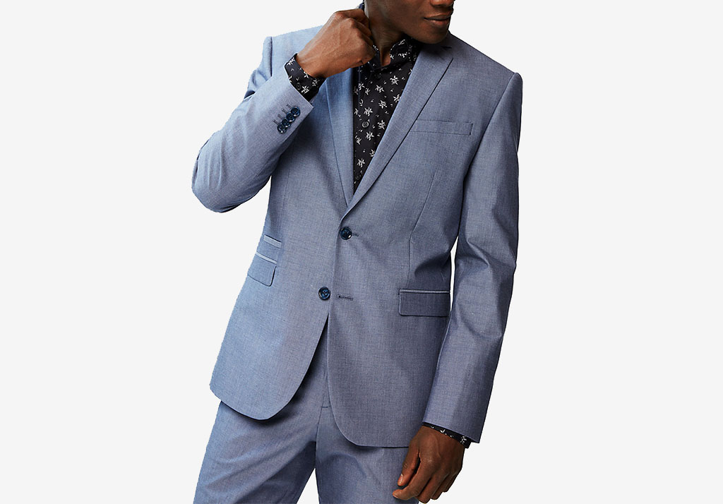 SLIM BLUE CHAMBRAY COTTON SUIT JACKET Express Cotton Freshen Up: Chivalry