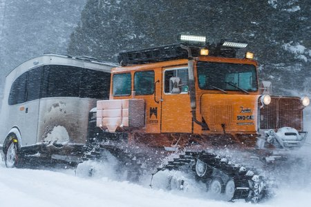 You Can Tow an Airstream Behind a Sno-Cat, Apparently