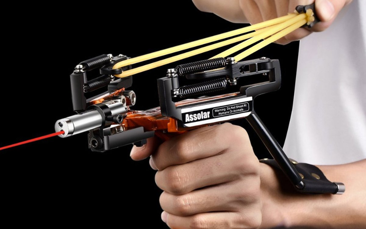 Assolar SS-12 Slingshot and Bow With Laser Sight - InsideHook