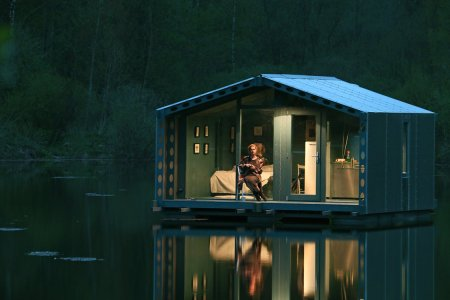 For Your Next Holiday, a Floating Cabin on a Still Lake