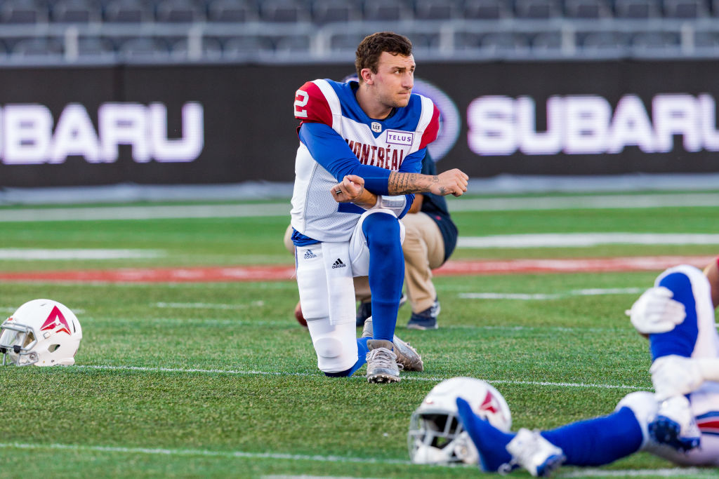 OTTAWA, ON - AUGUST 11: Montreal Alouettes quarterback Johnny Manziel (2) takes a break during warm-up before Canadian Football League action between the Montreal Alouettes and Ottawa Redblacks on August 11, 2018 at TD Place Stadium, in Ottawa, ON, Canada. (Photo by Richard A. Whittaker/Icon Sportswire via Getty Images)