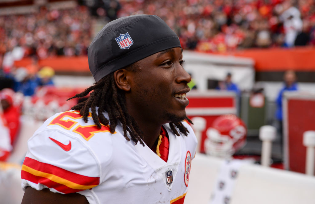 CLEVELAND, OH - NOVEMBER 4, 2018: Running back Kareem Hunt #27 of the Kansas City Chiefs on the sideline prior to a game against the Cleveland Browns on November 4, 2018 at FirstEnergy Stadium in Cleveland, Ohio. Kansas City won 37-21. (Photo by: 2018 Nick Cammett/Diamond Images/Getty Images)