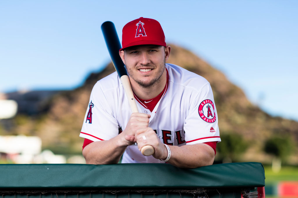 Los Angeles Angels outfielder Mike Trout (27) poses for a portrait during the Los Angeles Angels photo day on Tuesday, Feb. 19, 2019 at Tempe Diablo Stadium in Tempe, Ariz. (Photo by Ric Tapia/Icon Sportswire via Getty Images)