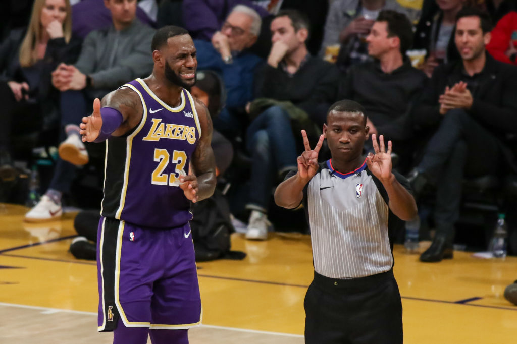 Los Angeles Lakers Forward LeBron James (23) is called for a foul during the Denver Nuggets game versus the Los Angeles Lakers on March 6, 2019, at Staples Center in Los Angeles, CA. (Photo by Icon Sportswire)
