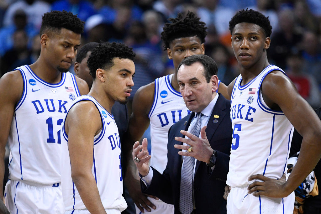 COLUMBIA, SC - MARCH 24: Head coach Mike Krzyzewski of the Duke Blue Devils talks to his team during a time out in the game against the UCF Knights in the second round of the 2019 NCAA Men's Basketball Tournament held at Colonial Life Arena on March 24, 2019 in Columbia, South Carolina. (Photo by Grant Halverson/NCAA Photos via Getty Images)