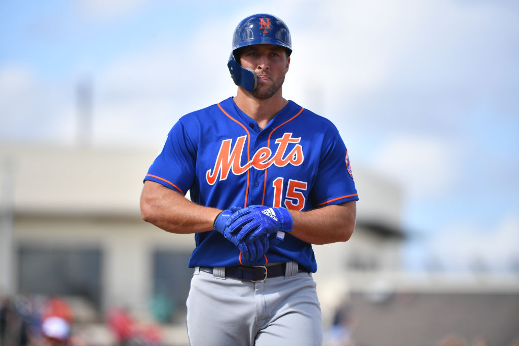 WEST PALM BEACH, FL - MARCH 07: Tim Tebow #15 of the New York Mets at bat during the spring training game against the Washington Nationals at The Ballpark of the Palm Beaches on March 7, 2019 in West Palm Beach, Florida. (Photo by Mark Brown/Getty Images)