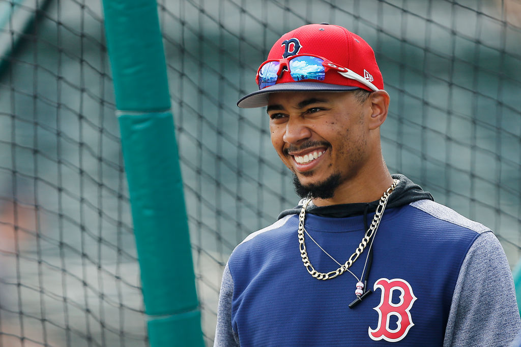 FORT MYERS, FLORIDA - MARCH 09:  Mookie Betts #50 of the Boston Red Sox looks on during batting practice prior to the Grapefruit League spring training game against the New York Mets at JetBlue Park at Fenway South on March 09, 2019 in Fort Myers, Florida. (Photo by Michael Reaves/Getty Images)