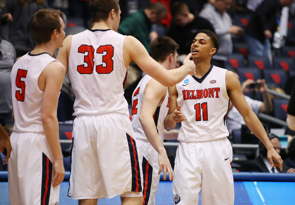 Kevin McClain #11 of the Belmont Bruins celebrates with teammates during the second half against the Temple Owls in the First Four of the 2019 NCAA Men's Basketball Tournament at UD Arena on March 19, 2019 in Dayton, Ohio. (Photo by Gregory Shamus/Getty Images)