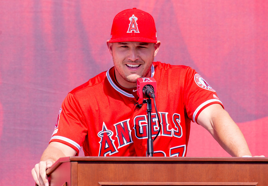 ANAHEIM, CA - MARCH 24: Mike Trout of the Los Angeles Angels speaks to a crowd about him staying with the Los Angeles Angels during a press conference outside Angel Stadium in Anaheim on Sunday, March 24, 2019. (Photo by Leonard Ortiz/MediaNews Group/Orange County Register via Getty Images)