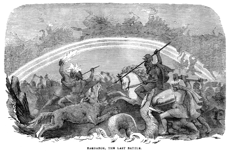 Vintage engraving from 1882 of Ragnarok, the Last Battle. (Getty Images)