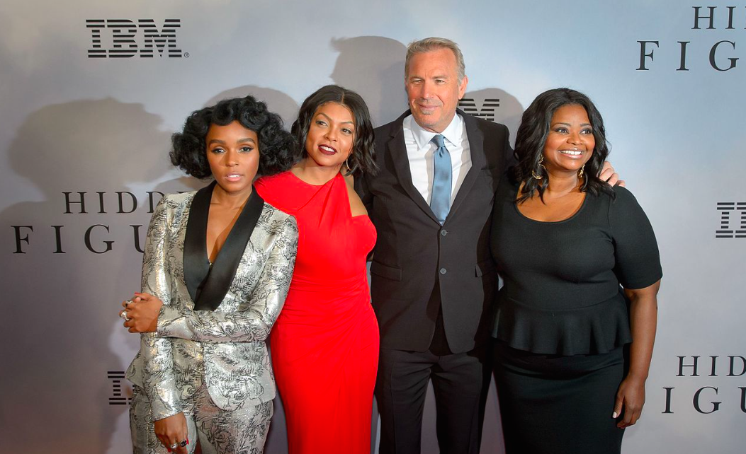 """Janelle Monáe (far left), Taraji P. Henson (2nd from left), Kevin Costner (2nd from right), and Octavia Spencer on the red carpet for the global celebration of the film """"Hidden Figures"""" at the SVA Theatre, Saturday, Dec. 10, 2016 in New York City. """"Hidden Figures""""was nominated for three Academy Awards and was one of many notable successes from the Fox 2000 label that will be shut down in the wake of the Fox-Disney merger."""