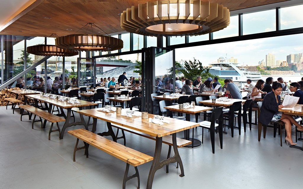 A Patio With Breathtaking Views Of The Brooklyn Skyline For Brunch Industry Benedict Smoked Ham Poached Eggs In Potato Nests And Hollandaise Is