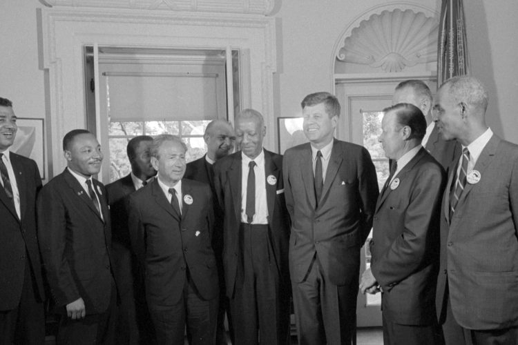 Civil rights leaders meet with President John F Kennedy in 1963. (Getty)