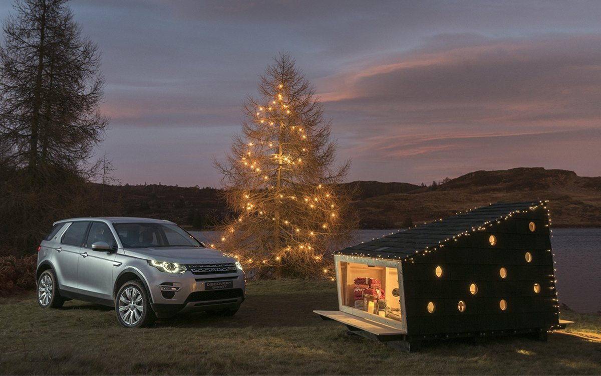 Land Rover Built Santa Claus a Cabin, and It Fits in the Trunk of an SUV