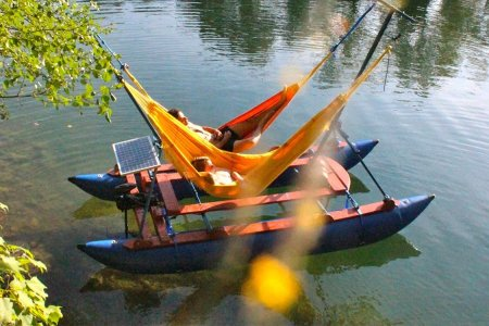 It's a Solar-Powered Motorized Hammock Boat, Dude