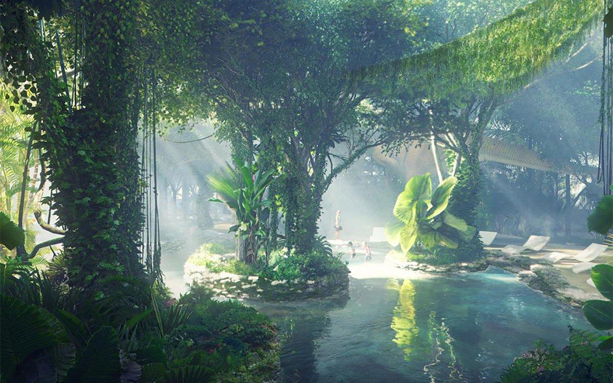 Here's a Rainforest Hotel with Life-Size Dinosaur Replicas, Because Dubai