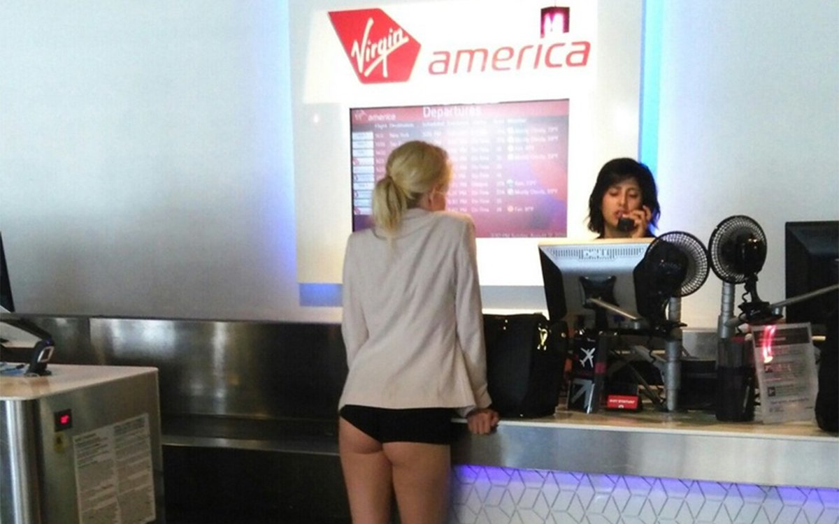 This Blonde Lady Didn't Wear Pants to the Airport