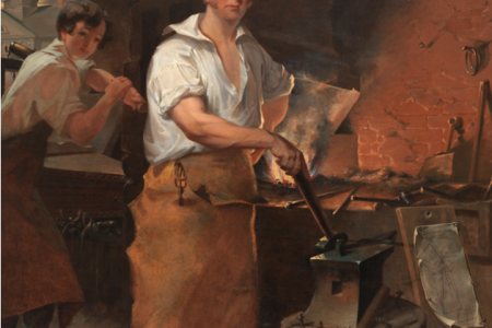 """Pat Lyon at the Forge,"" an 1829 portrait by John Neagle. Lyon was falsely accused of perpetrating the first bank robbery in the United States in 1798. (Photo credit: Pennsylvania Academy of the Fine Arts)"