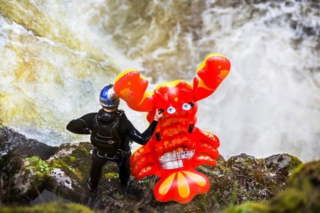 Man vs. Inflatable Lobster vs. A 69-Foot Waterfall