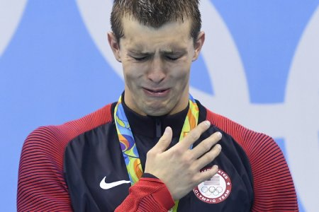 U.S. Swimmer Cries Like a Baby, and Women Swoon