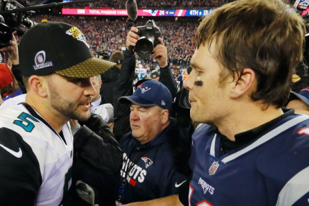 FOXBOROUGH, MA - JANUARY 21: Tom Brady #12 of the New England Patriots shakes hands with Blake Bortles #5 of the Jacksonville Jaguars after the AFC Championship Game at Gillette Stadium on January 21, 2018 in Foxborough, Massachusetts. (Photo by Kevin C. Cox/Getty Images)