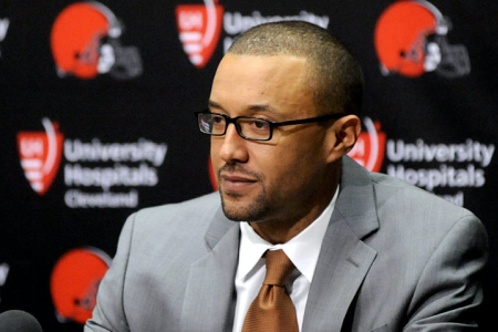 BEREA, OH - JANUARY 13, 2016: Executive vice president of football operations Sashi Brown of the Cleveland Browns listens to questions during an introductory press conference. (Photo by Nick Cammett/Diamond Images/Getty Images)