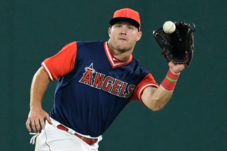 Mike Trout #27 of the Los Angeles Angels of Anaheim  (Photo by John McCoy/Getty Images)