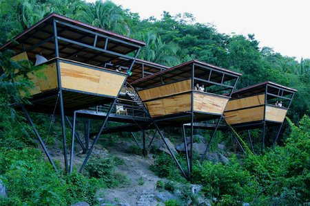 Sleep Above the Trees in These Reverse-Pyramid Open-Air Beach Houses