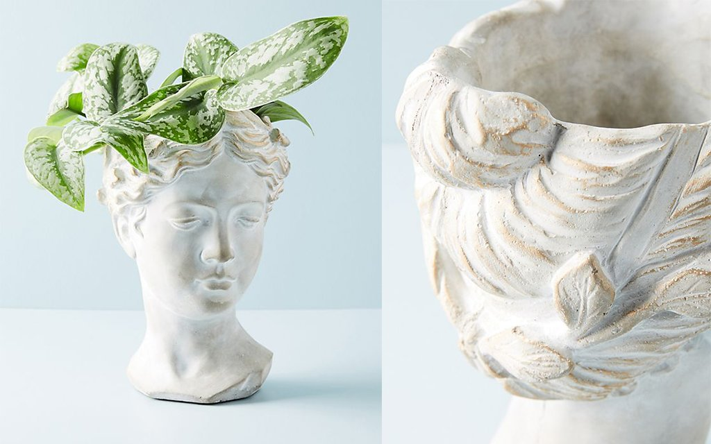 Grecian bust pot