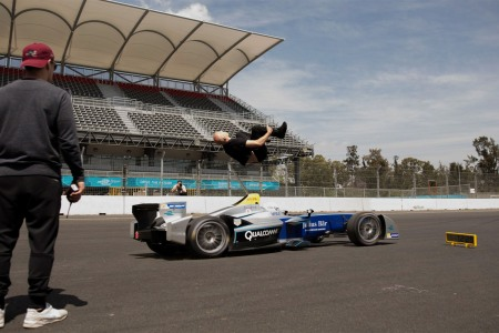 Blind Backflip Over a Race Car? Sure. What the Hell.
