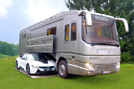 This Sports-Car-Carrying Volkner Is the Mama Kangaroo of Recreational Vehicles