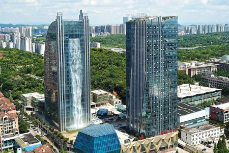 Who OK'd This Waterfall on the Side of a Chinese Skyscraper?