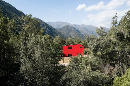 One Fire-Engine Red Shanty in the Chilean Mountains, Please