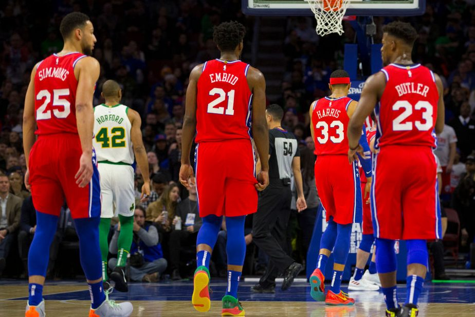Ben Simmons #25, Tobias Harris #33, Joel Embiid #21, and Jimmy Butler #23 of the 76ers. (Photo by Mitchell Leff/Getty Images)