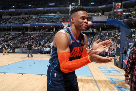 Russell Westbrook #0 of the Oklahoma City Thunder. (Photo by Joe Murphy/NBAE via Getty Images)