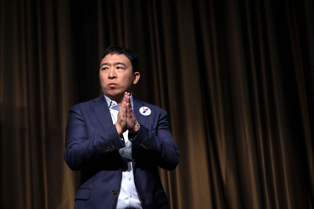 Andrew Yang has plans to campaign with holograms. (Getty Images)