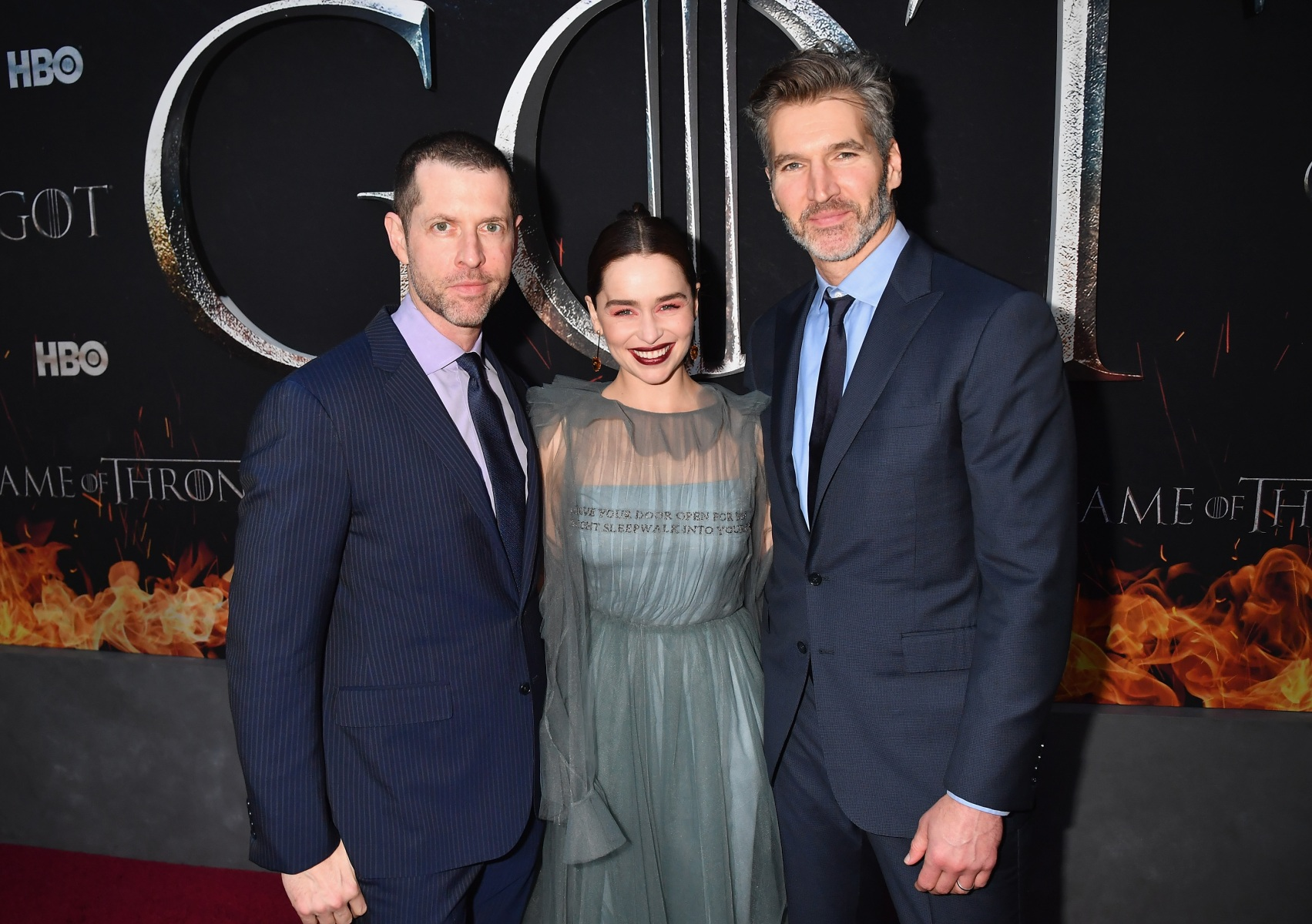 """Producers D.B Weiss (l) and David Benioff (r) and Emilia Clarke attend the """"Game Of Thrones"""" Season 8 NY Premiere."""