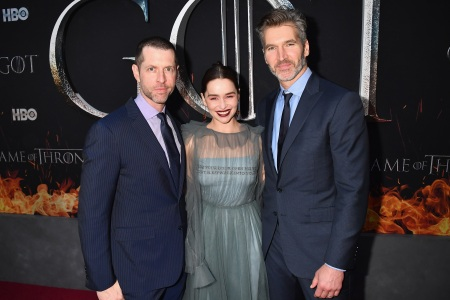 "Producers D.B Weiss (l) and David Benioff (r) and Emilia Clarke attend the ""Game Of Thrones"" Season 8 NY Premiere."
